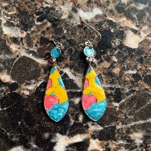 Jewelry - Vintage 925 Silver Colorful Earrings Hook Dangle